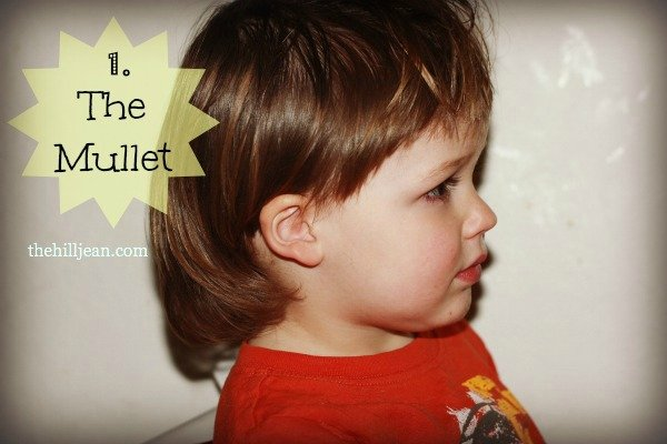 little boy with mullet
