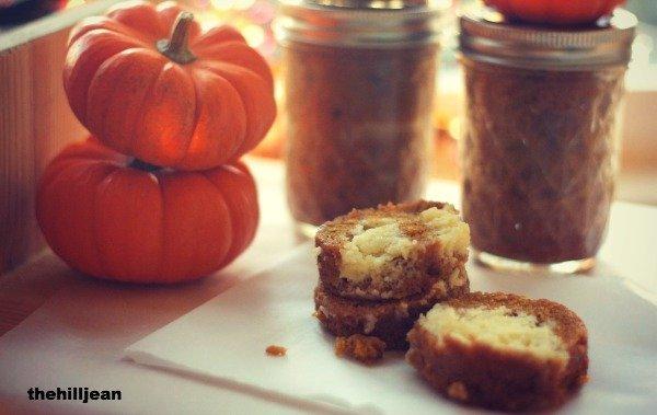 cream cheese pumpkin roll in a jar